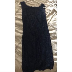 Navy Adrianna Papell lace midi fitted dress